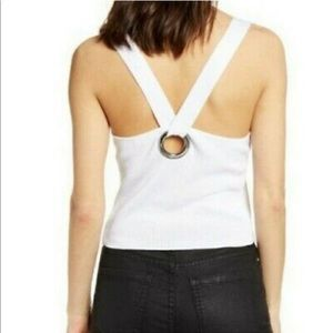 NWT LEITH Ring Back Ribbed Tank Top White